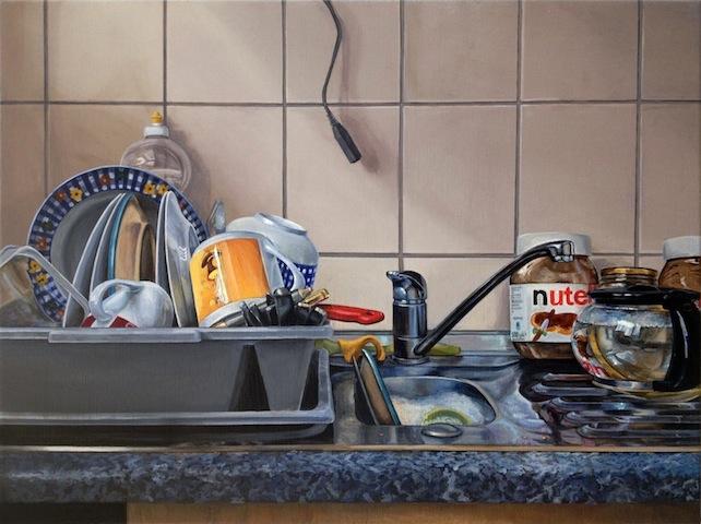 """Geschirr"" 2013, Acryl auf Leinwand, 60 x 80 cm"