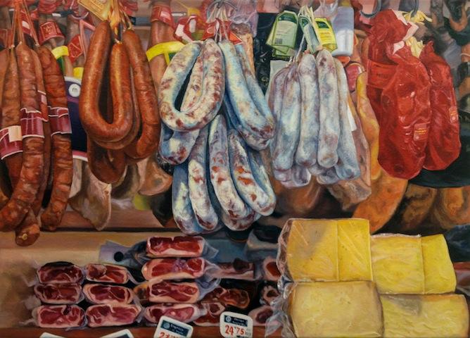 """""""Wurst und Käse"""" 2012, Öl auf Leinwand, 60 x 80 cm"""